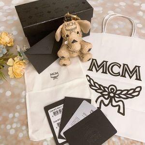 BNIB MCM leather elephant charm keychain bag charm